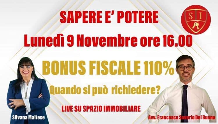 Bonus Fiscale 110% : segui la nostra diretta